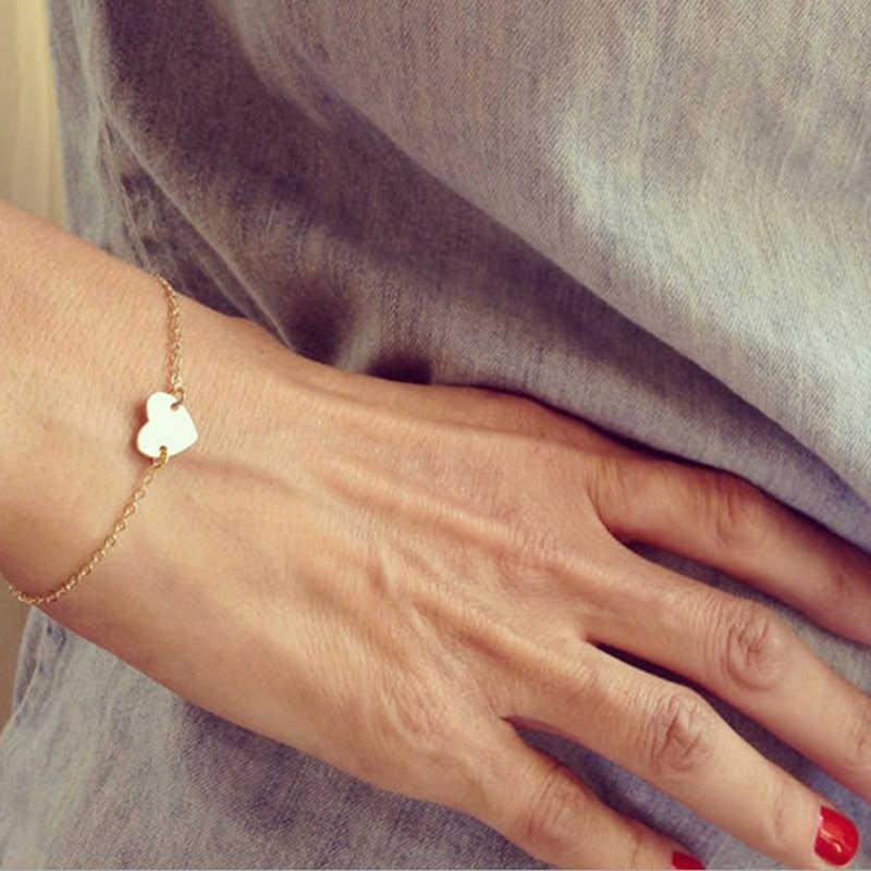 Stylowe kobiety dziewczyny złota biżuteria w kształcie serca bransoletka w kształcie serca miłość bransoletka codziennie wisiorek prezent