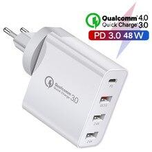 "פ""ד מטען USB סוג C 48W 30W 20W 18W מטען FCP AFC עבור Macbook USB C טעינה מהירה QC 4.0 3.0 עבור חכם טלפון Apple IPhone 12"