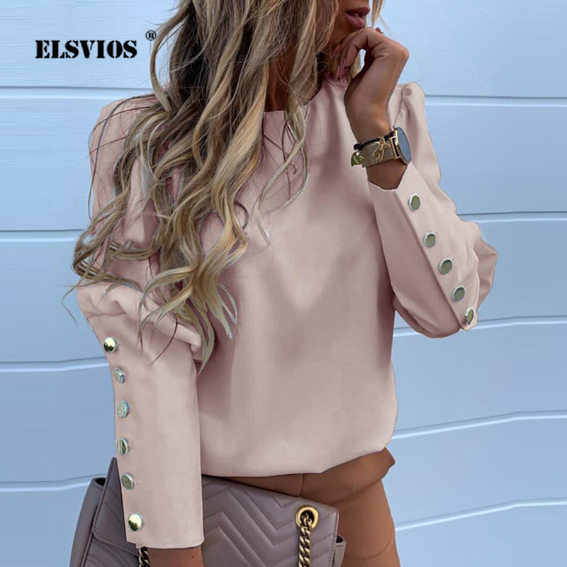 2019 Work Wear Women Blouses Long Sleeve Back Metal Buttons Shirt Casual O Neck Solid Plus Size Tops Autumn Blouse Drop Shipping