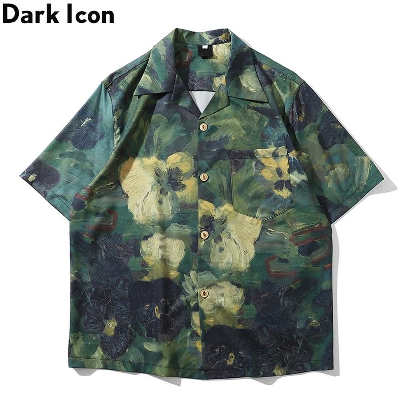 Dark Icon Hand Paint Full Printed Hawaiian Shirts Men 2020 Summer Street Men's Shirt