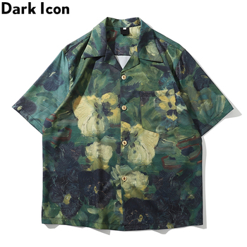 Dark Icon Hand Paint Full Printed Hawaiian Shirts Men 2020 Summer Street Mens Shirt