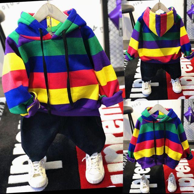 ホット販売ブランド男の子の服の子供冬の男の子服虹バー服セット肥厚パーカー、肥厚ジーンズ