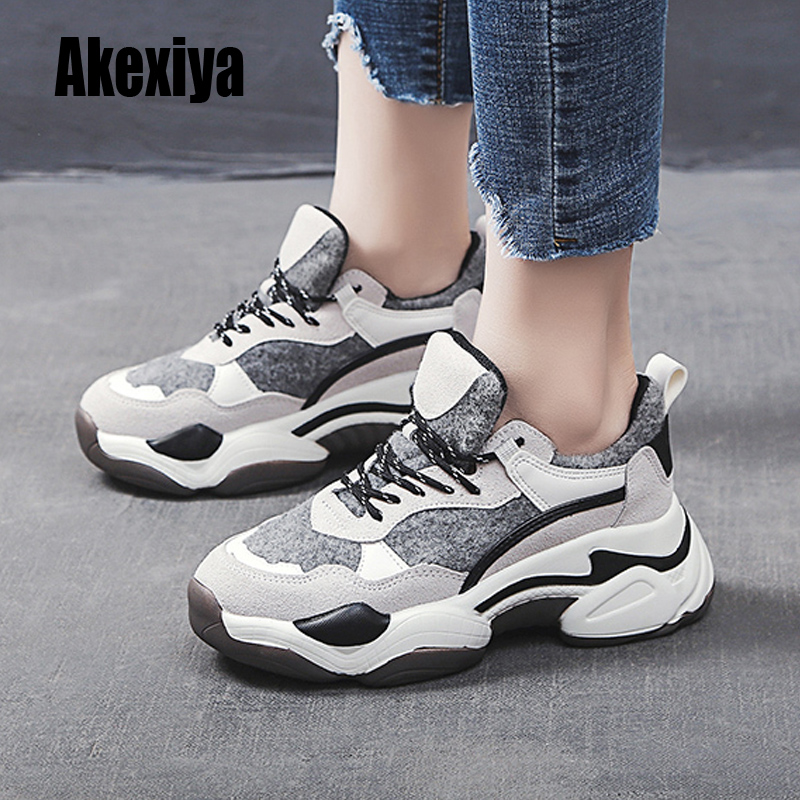 Women Sneakers 2020 Fashion Casual Shoes Woman Comfortable Synthetic Fiber Thick Bottom Female Platform Sneakers Plus Fur K605
