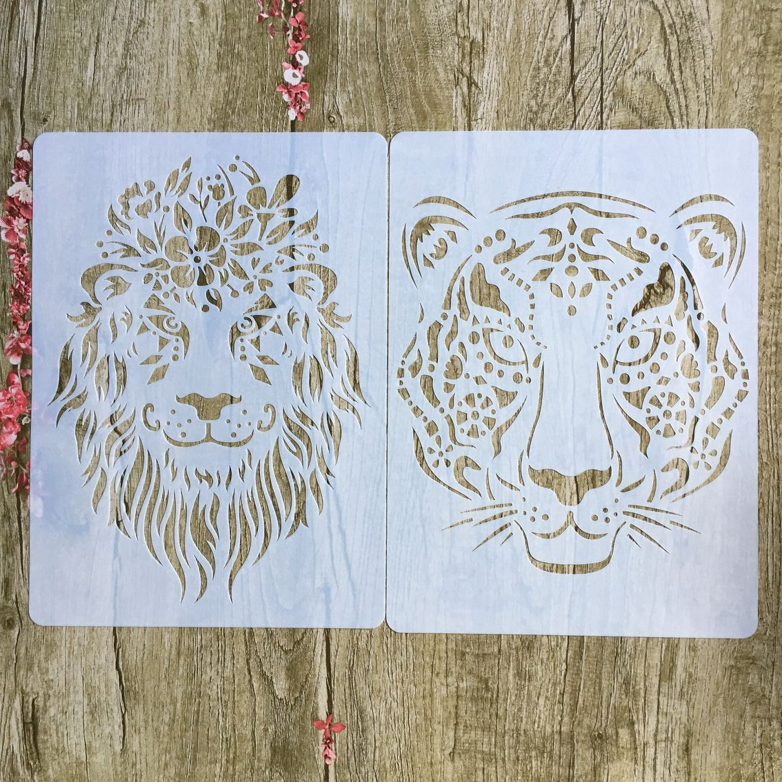 2 Pieces / Each Batch Of A4 Animal Tiger Lion DIY Craft Layered Stencil, Painting, Scrapbook, Embossing,  Album Paper Stencil