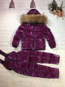 Детский зимний костюм для мальчика, куртка на утином пуху и штаны с меховым капюшоном, зимний костюм для мальчика, Лыжная верхняя одежда, 2019