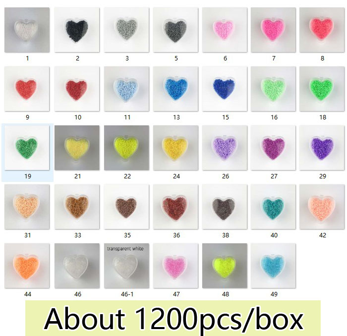 1200pcs With Heart Box 2.6mm EVA Perler/Hama Beads Toy Kids Iron Beads Fun DIY Handmaking Fuse Bead Creative Educational Toys