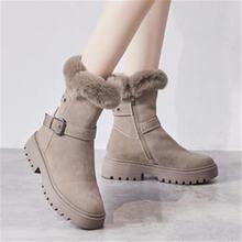 Женские замшевые ботинки на толстой подошве теплые короткие