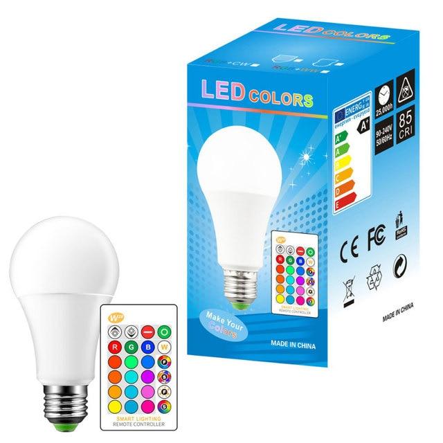E27 3/5/10w 16 cores mudando magia lâmpada led rgb AC85 265V + branco controle remoto inteligente lâmpada de luz pode ser escurecido memória + ir controle remoto