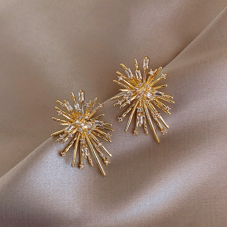 Korean New Design Hot Sale Fashion Jewelry Personality Firework flowers Earrings Metal Copper Inlaid Zircon Earrings for women