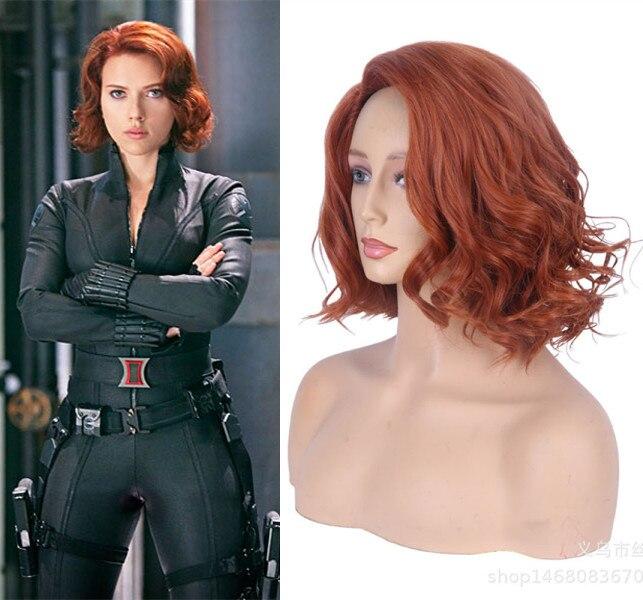 Halloween Women Black Widow Wig Orange Short Wavy Hair Scarlett Johansson Orange Wavy Hair Role Play Syled Synthetic Hair