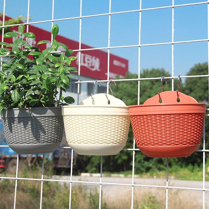 Flowerpot Flower Planter Wall Hanging Home Decoration Imitation Rattan Weaving PP Office Plant Grow Basin Baskets Balcony
