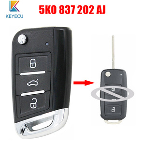 KEYECU Upgraded Remote Key for Volkswagen Caddy Polo Transporter Beetle Jetta Touran Golf 6 Tiguan Eos Sharan UP 5K0 837 202 AJ