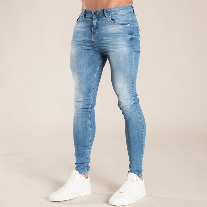 Mens Skinny Jeans 2019 Super Skinny Jeans Men Non Ripped Stretch Denim Pants Elastic Waist Big Size European W36 1957
