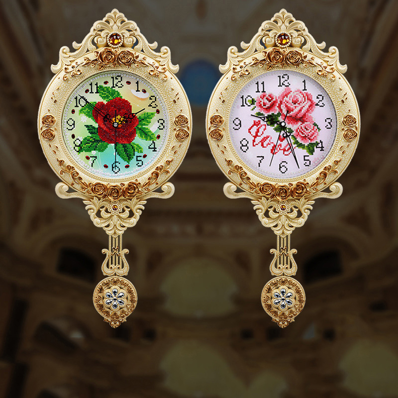 5D Diamond Painting Living Room Creative European Clock Cartoon Time Embroidery Home Wall Clock With Frame Cross Stitch