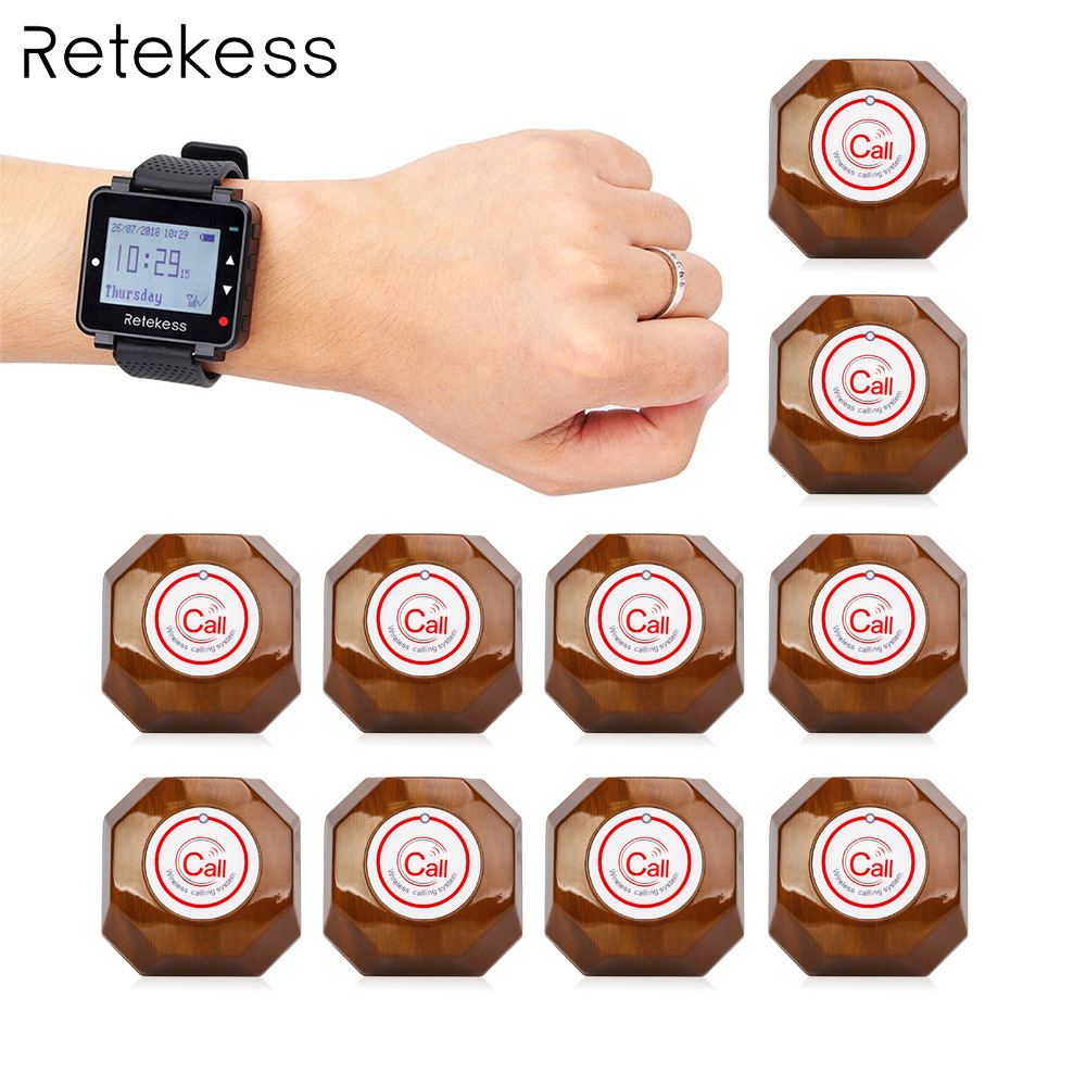 Retekess 433MHz Wireless Waiter Calling System Call Pager 1pcs Watch Receiver T128 10pcs Call Button T133
