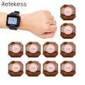 Retekess 433 МГц Беспроводная кнопка вызова официанта система вызова пейджер 1 шт. часы приемник T128 + 10 шт. кнопка вызова T133 для ресторана