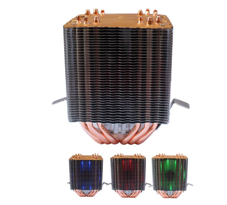 Lanshuo 6 Heat Pipe 3 Wire with Light Single Fan Cpu Fan Radiator Cooler Heat Sink For Intel Lga 1155/1156/1366 Cooler Heat image