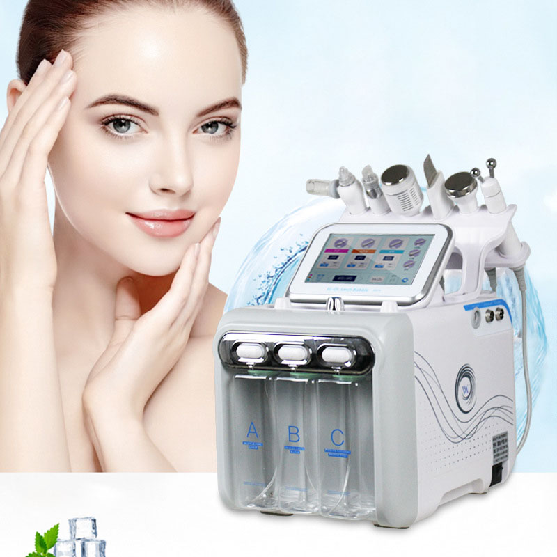 6 In 1 H2-O2 Small Bubble Hydro-Dermabrasion Equipment Aqua Peel Water Oxygen Jet Peel H2O2 Facial Skin Deep Clean Machine