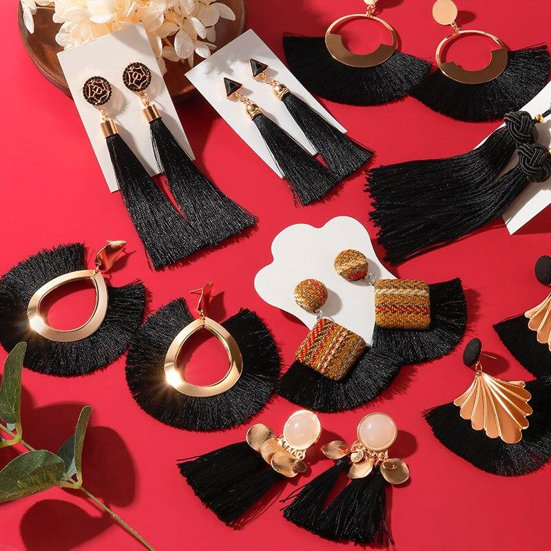 Женские богемные серьги с кисточками, длинные черные висячие серьги из хлопка и шелка, украшения для женщин, 2020
