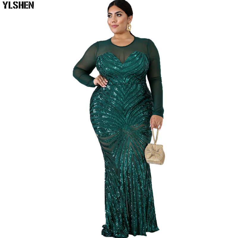 4XL 5XL African Dresses For Women Plus Size Black Sequins Round Neck Long Sleeves Daily Dress Evening Dress Party Dress