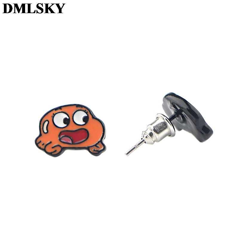 Dmlsky desenhos animados anime tema brincos do parafuso prisioneiro dos desenhos animados jóias não alérgicas brinco para meninas presente m4011