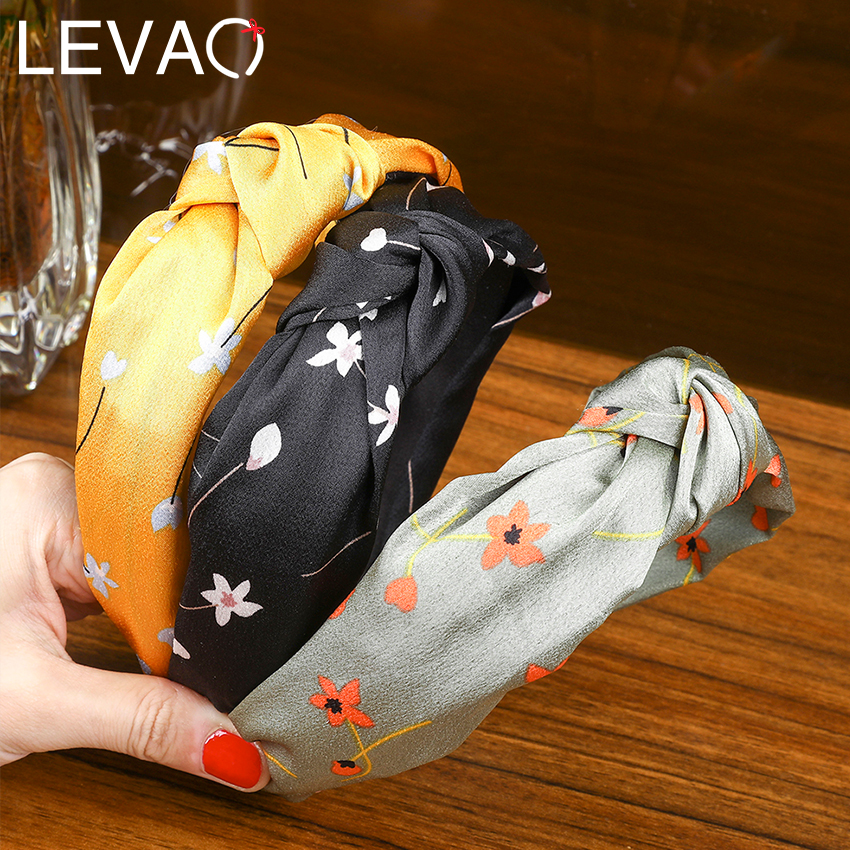 Levao Flower Printing Knotted Headband Soft Cloth Solid Color Hairband Bohemian Hair Hoops For Women Hair Accessories Head Bezel