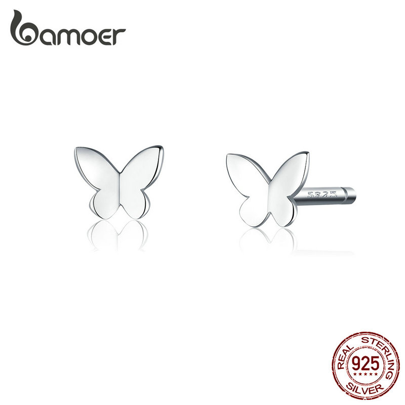 Bamoer Genuine 925 Sterling Silver Small Simple Butterfly Stud Earrings For Women Silver 925 Anti-allergy Fine Jewelry SCE775
