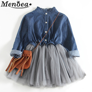 Menoea Girl Mesh Dress 2020 New Autumn Dresses Children Clothing Princess Dress Demin Bow Design 2-8 Years Girl Clothes Dress(China)