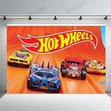 خلفية ثلاثية الأبعاد للصور الرقمية ، خلفية كرتونية كثيفة مع عجلات ساخنة ، خلفية للأولاد ، حفلة عيد ميلاد ، ديكور استوديو صور ، قماش