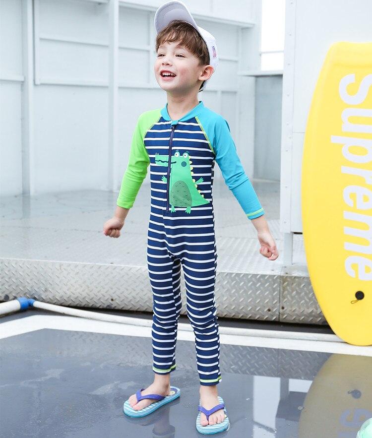 2019 New Style KID'S Swimwear Big Boy Bluish Green Dinosaur Stripes Zipper Cute Boy One-piece Swimwear