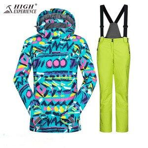 Image 2 - Costume hiver veste de Ski combinaison de Ski femmes veste dhiver femme veste de Snowboard Ski Sport costume imperméable Snowboard combinaison de neige