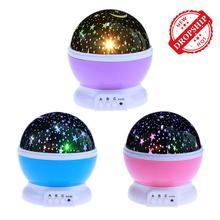 Ciel étoilé étoile LED veilleuse projecteur rotatif batterie USB chambre fête de noël lampe de Projection enfants enfants cadeau de noël