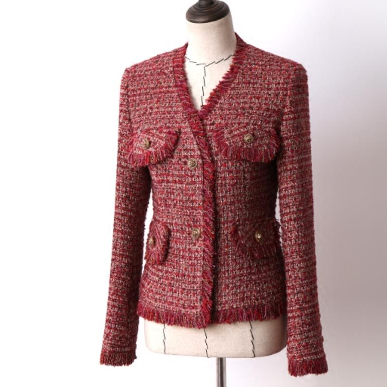 Tweed Jacket Coat Blazer-Work Tassel Elegant Autumn Single-Breasted Women V-NECK Slim