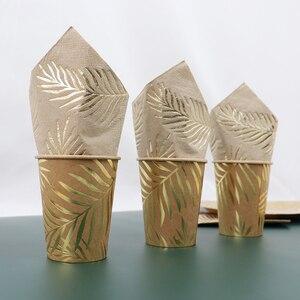 Image 2 - Conjunto para mesa de papel Kraft desechable, color dorado, placa con patrón de hoja de palma, taza, toalla de papel, paja, fiesta, boda, cumpleaños, cubiertos