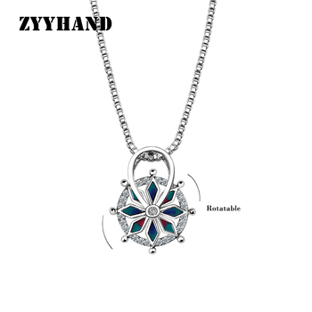 ZYYHAND Rotatable Pendant Necklace Silver-Color Box Chain Birth Stone Women Sexy Fashion Astrolabe Cloisonne Pendant Necklace image