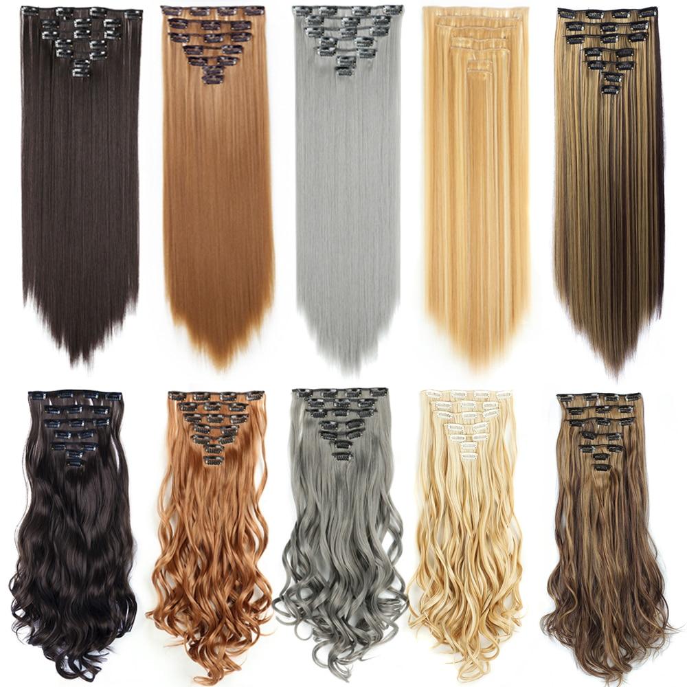 СИНТЕТИЧЕСКОЕ Наращивание волос прямые/волнистые накладные волосы на заколке натуральные заколки для волос шиньон для женщин накладные во...