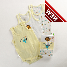 3 Pcs Lot Baby Bodysuit Childrens Summer Wear Ultra Thin Slub Cotton Girls Sleeveless Xs139