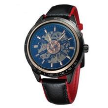 2019 nouvelle moto Design Transparent véritable rouge noir ceinture étanche squelette hommes montres automatiques Top marque horloge de luxe