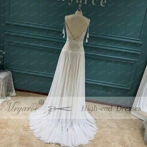 Image 5 - Mryarce 2020 nowy boho weselny sukienka paski spaghetti koronki szyfonu suknie ślubne