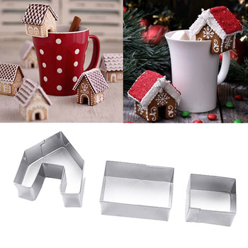 3pcs Christmas Gingerbread House Biscuit Mold Cookie Cutters Set Christmas Cup Decor DIY Cake Baking Tools Xmas Party Supplies stainless steel christmas house cookie mold diy baking cookie tools biscuit fondant cutters christmas cookie cutters