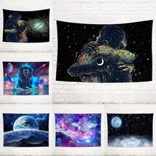 Creative Couple Hugging Galaxy Tapestry Wall Hanging Abstract Decorative Art Pattern Wall Rug Home Decorative Tapestries wall art decorative three snowmen pattern tapestry