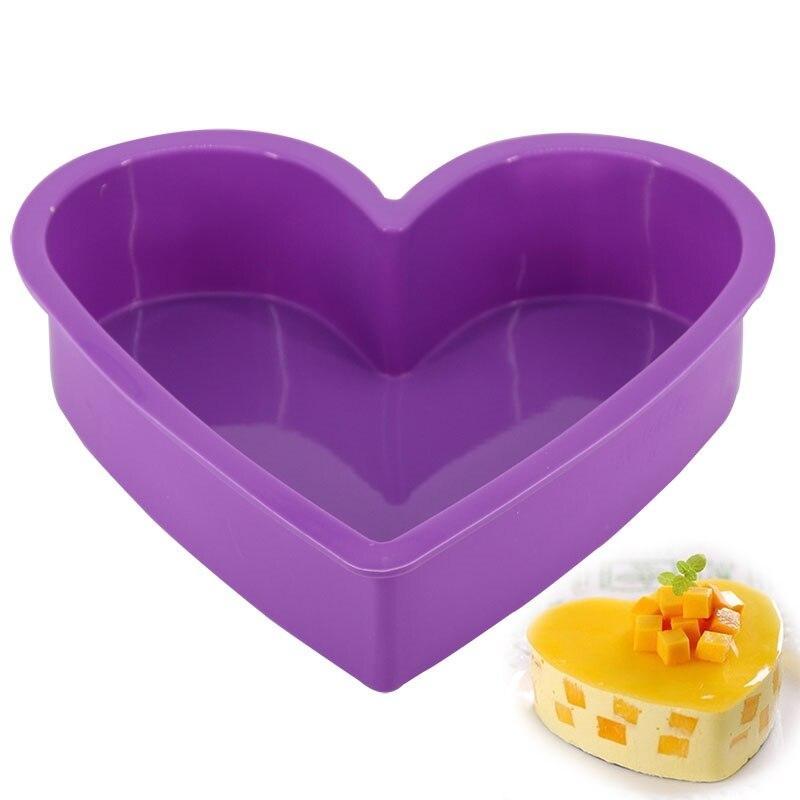 Molde de bolo de cozimento de silicone moldes de pastelaria grande forma de coração molde de bolo mousse bakeware molde de pão diy não-vara bakeware pan