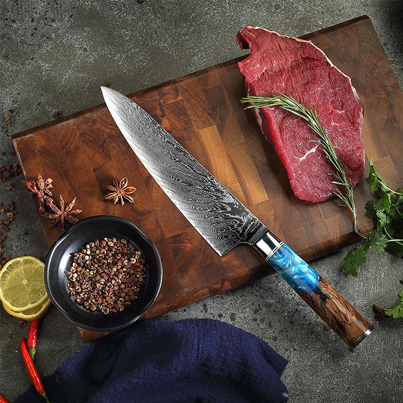 MUZ couteaux de cuisine damas VG10 acier professionnel 67 couches couteau de Chef japonais coupe tranchante tranchage manche en bois coloré