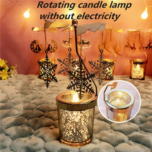 Rotating Candle Holder Lamp without Electricity Candlesticks with Windmill Spinning Carousel Tea Light Christmas Day