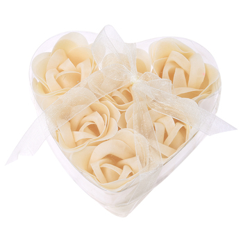 6 Pcs Bathing Shower Off White Rose Flower Bath Soap Petals w Heart Shaped Box