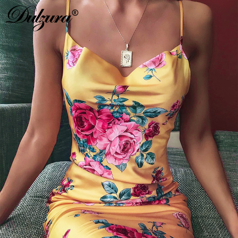Dulzura Floral Print Satin Vintage Women Midi Dress Boho Strap Lace Up Backless Sexy 2020 Summer Clothes Party Evening Elegant