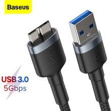 Baseus USB 3.0 マイクロ B ケーブル 5 ギガバイトの高速 USB タイプ A マイクロ B データケーブル三星 s5 注 3 HDD 外部ハードドライブディスクコード