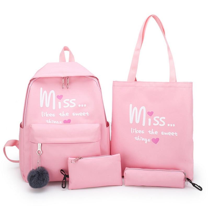 Puimentiua 4Pcs/set Women School Backpacks Nylon Schoolbag For Teenagers Girls Student Book Bag Boys Mochilas Sac A Dos