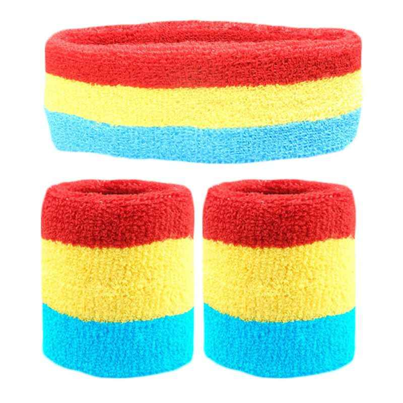 3 pcs unisex sweatbands 세트 레인보우 다채로운 스트라이프 스포츠 머리띠 운동 배드민턴 손목 밴드 코튼 운동 bracer hairband