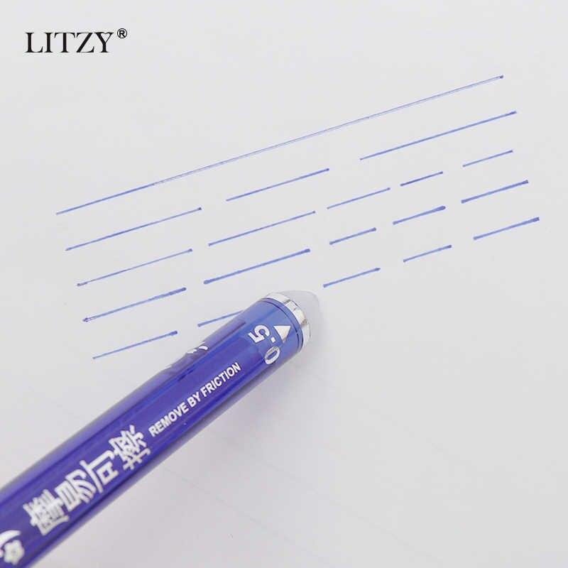 28 sztuk/partia wymazywalnej długopis zestaw zmywalny uchwyt niebieski czarny atrament pisanie długopisy żelowe do szkoły biurowe materiały biurowe egzamin zapasowy